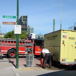 4:33 p.m. City road service crew, servicing the fire engine -
