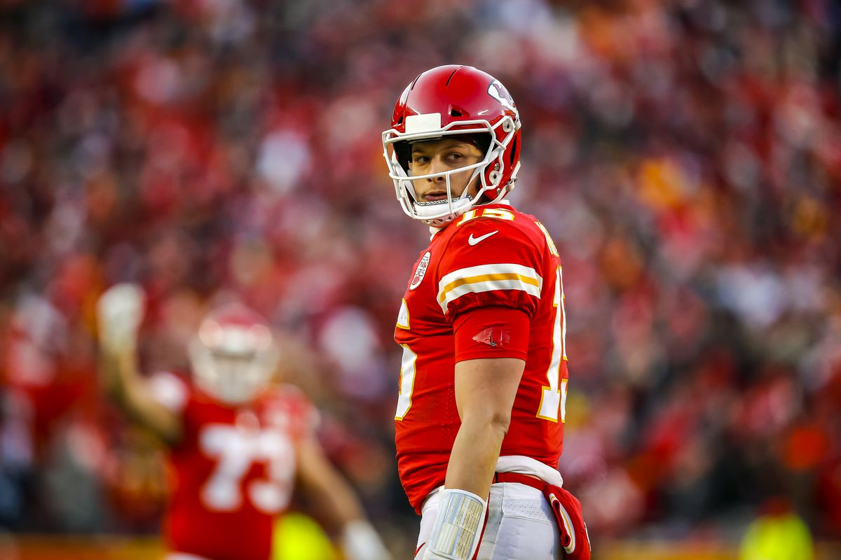 Patrick Mahomes #15 of the Kansas City Chiefs looks at a referee during the fourth quarter of the AFC Championship game against the Tennessee Titans at Arrowhead Stadium on January 19, 2020 in Kansas City, Missouri.