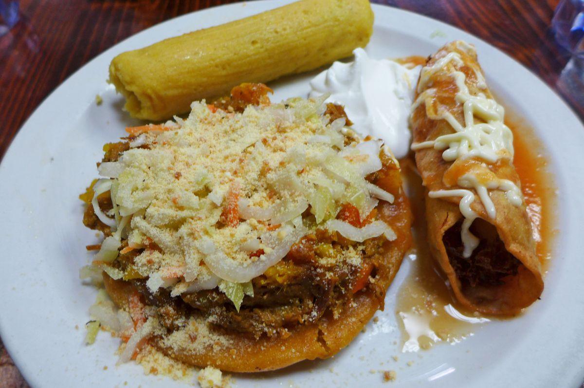 Salvadoran enchilada, elote tamale, and taco