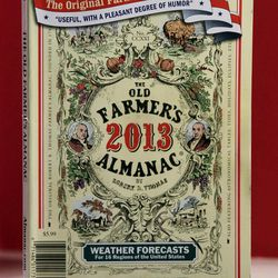 This Tuesday, Sept. 11, 2012, photo shows the cover of the 2013 edition of the Old Farmer's Almanac in Boston. Many farmers say the booklets, known for their catchy weather predictions over 221 years of publication, are no longer a go-to source in the Information Age.