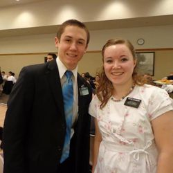 Sister Abby Chambers, of Perry, Utah, age 19, with her 19-year-old cousin, Elder Dax Smith, of Roy, Utah, in the MTC on Jan. 30. Sister Chambers is now serving in San Antonio, Texas, and Elder Smith is in Malaga, Spain.