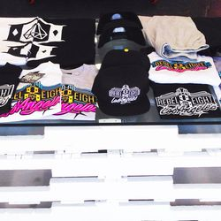 """Merchandise with the front row's """"REBEL EIGHT Los Angeles"""" logo are exclusive to this pop-up."""