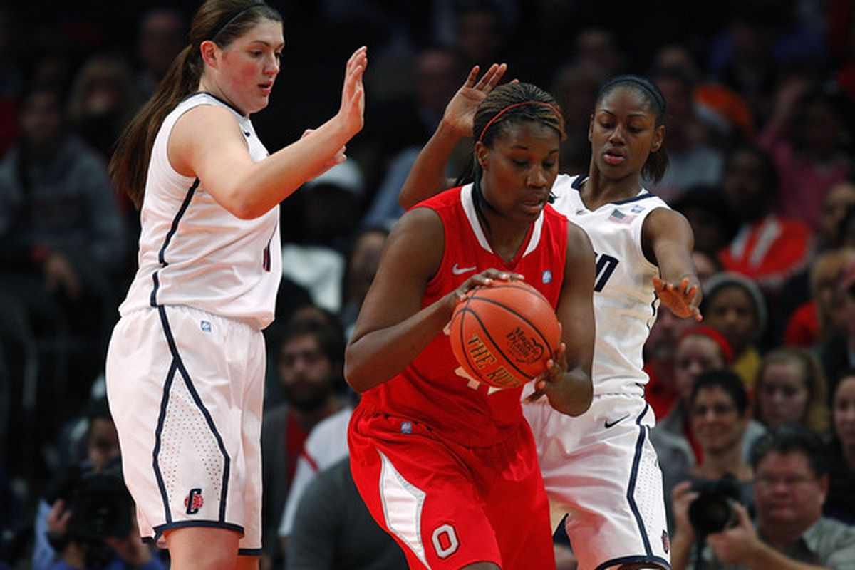 Ohio State center Jantel Lavender #42 was picked by the Los Angeles Sparks with the number five pick in Monday's WNBA draft. (Photo by Jeff Zelevansky/Getty Images)