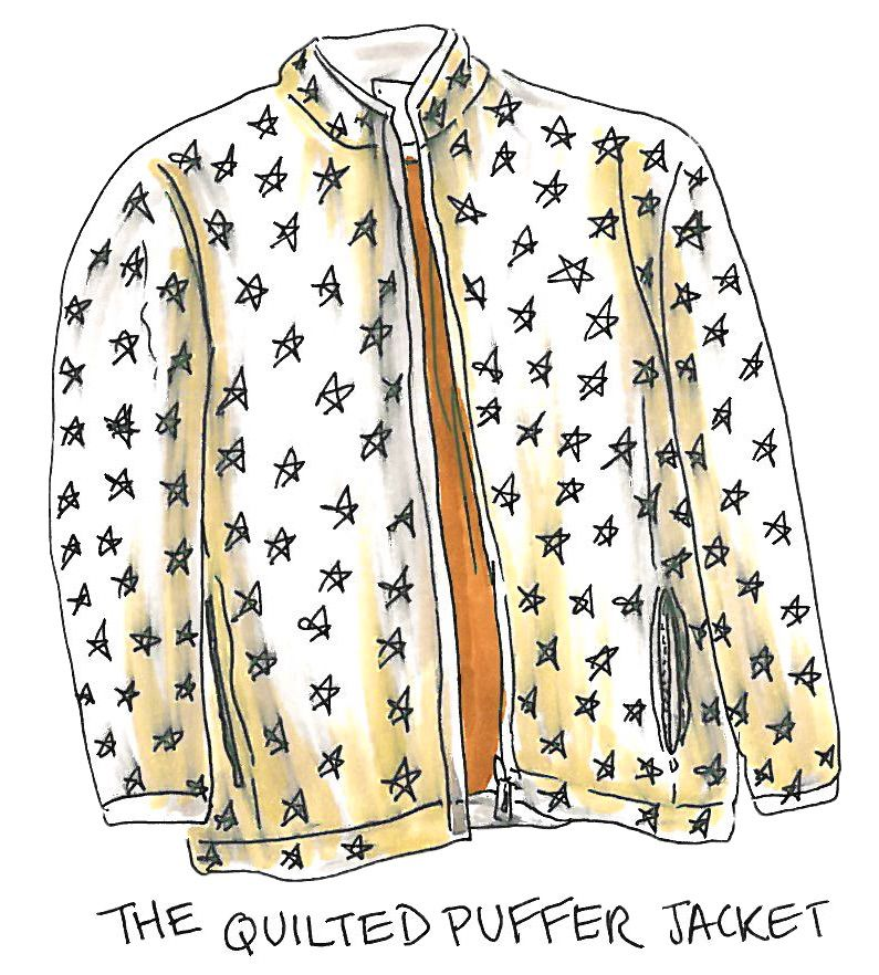 An illustration of a quilted puffer jacket