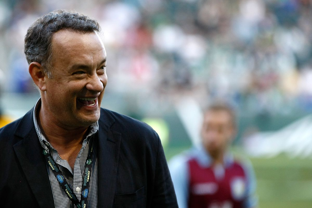 PORTLAND, OR - JULY 24:  Actor Tom Hanks smiles before the game between Aston Villa and the Portland Timbers at Jeld-Wen Field on July 24, 2012  in Portland, Oregon.  (Photo by Jonathan Ferrey/Getty Images)