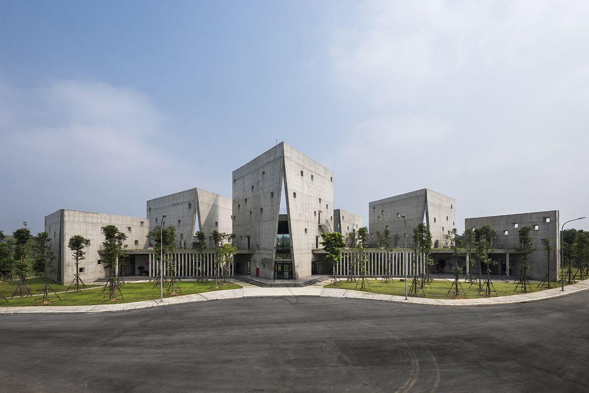 Concrete buildings along street