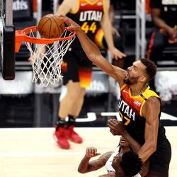 Utah Jazz center Rudy Gobert (27) dunks the ball as the Utah Jazz and the Memphis Grizzlies play in game 5 at Vivint Arena in Salt Lake City on Wednesday, June 2, 2021. Utah won 126-110, Utah advances to the second round.