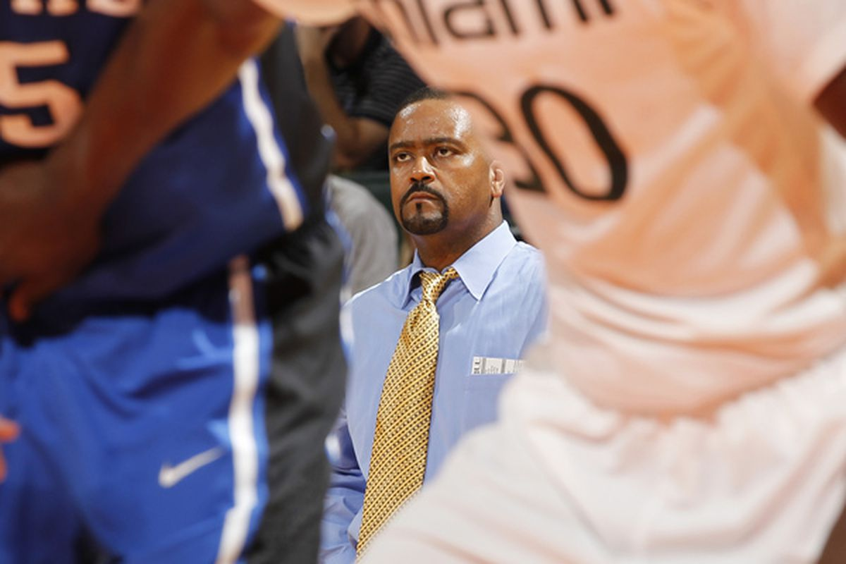 CORAL GABLES FL - FEBRUARY 13: Head coach Frank Haith of the Miami Hurricanes watches second half action against the Duke Blue Devils on February 13 2011 at the BankUnited Center in Coral Gables Florida. (Photo by Joel Auerbach/Getty Images)