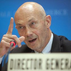 Director General of the World Trade Organization, WTO, Pascal Lamy addresses a news conference on annual trade forecast and statistics at the WTO headquarters in Geneva, Thursday, April 12, 2012. Europe's sovereign debt crisis and other economic shocks are expected to slow the growth in global exports to just 3.7 percent in 2012, the WTO said. That comes after slowing to 5 percent in 2011, and would mark a sharp deceleration from the 13.8 percent growth rate in 2010, the WTO said in its annual report. The figures represent the total volume of merchandise exported across borders, accounting for changes in prices and exchange rates.