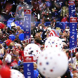 Balloons fall on the delgates during the final night of the National Republican Convention in Cleveland on Thursday, July 21, 2016.