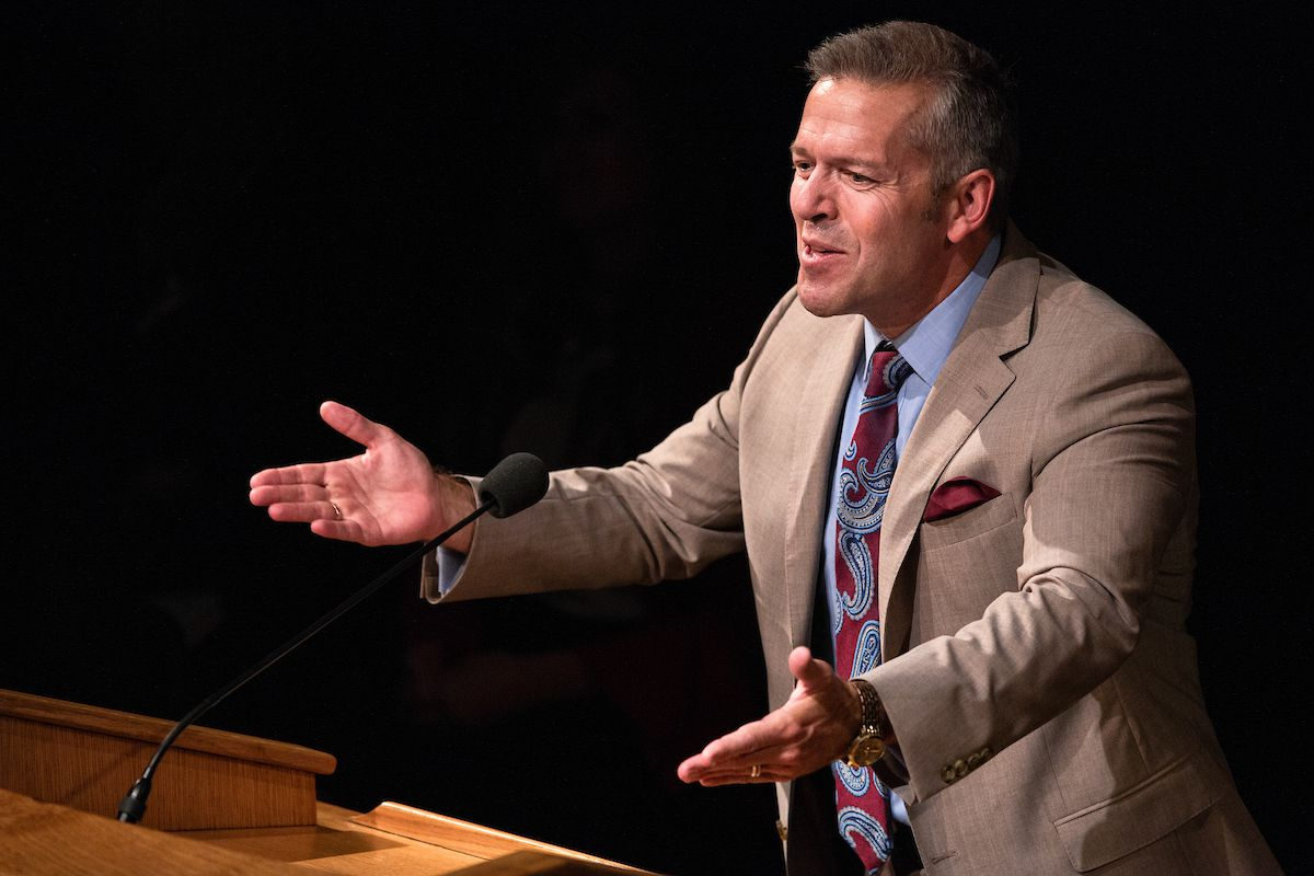 BYU professor Eric D. Huntsman speaks during a campus devotional at Brigham Young University on August 7, 2018.