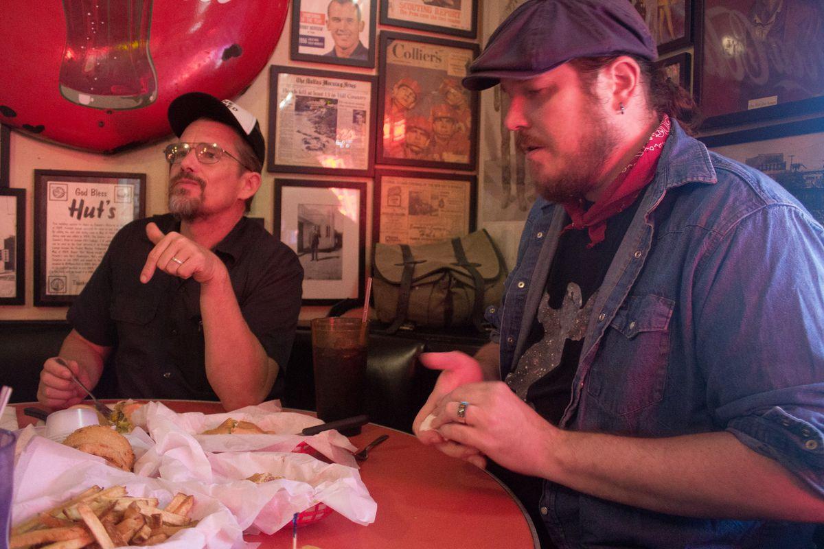 Ethan Hawke and Ben Dickey at Hut's Hamburgers