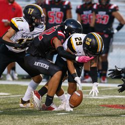 Roy and West compete in a high school football game Friday, Sept. 10, 2021, at West High School in Salt Lake City.