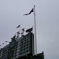 Flags in the right-field bleachers