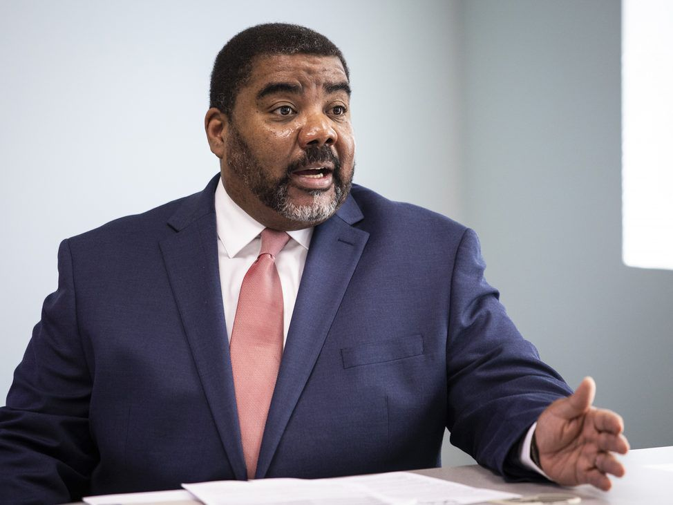 Illinois Department of Children and Family Services Acting Director Marc Smith discusses a review by the University of Chicago's Chapin Hall policy research center of the DCFS Intact Family Services program, during a press event at DCFS, Monday morning, M