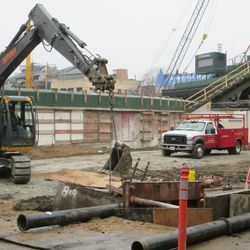 View of the new utility excavation on Sheffield