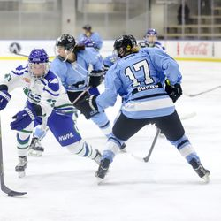 Connecticut Whale forward Meghan Huertas protects the puck as she maneuvers around Buffalo Beauts defender Jordyn Burns during a NWHL game on Dec. 16, 2017 at HarborCenter in Buffalo, NY.