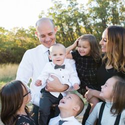 Jarem Hallows, who was recently diagnosed with cancer,  poses with his family.