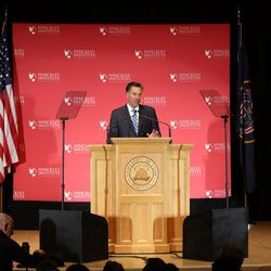 Former Gov. of Mass. Mitt Romney addresses the Hinckley Institute of Politics regarding the 2016 presidential race at the University of Utah in Salt Lake City on Thursday, March 3, 2016.