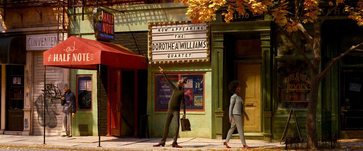 A man on a street beneath an awning at a jazz club.