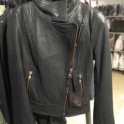 Lisa leather jacket in jade, $370 (was $740)