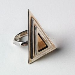 Two-toned Pyramid ring in sterling and bronze.