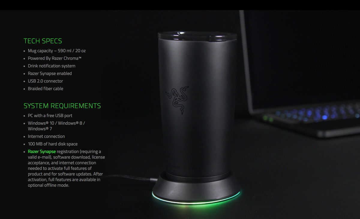 You cannot convince me this light-up Razer mug holder is real - The