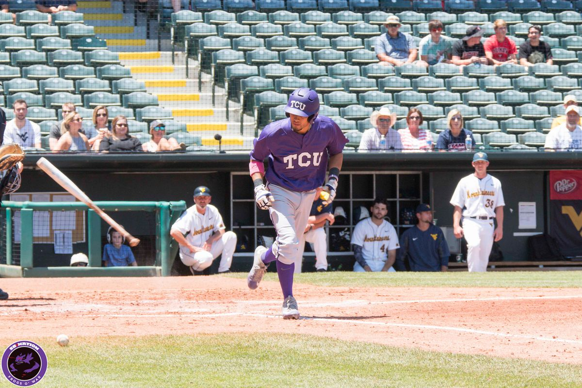 TCU third baseman Elliott Barzilli reacts to being plunked by a ball in the Big 12 Tournament.