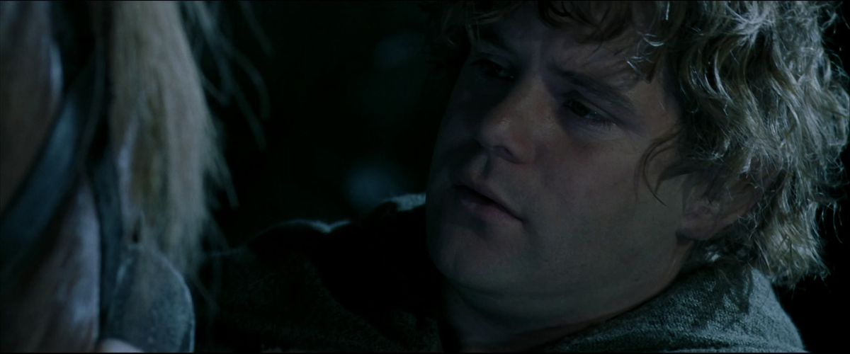 Sam says goodbye to Bill the Pony at the entrance to the Mines of Mora in The Fellowship of the Ring.
