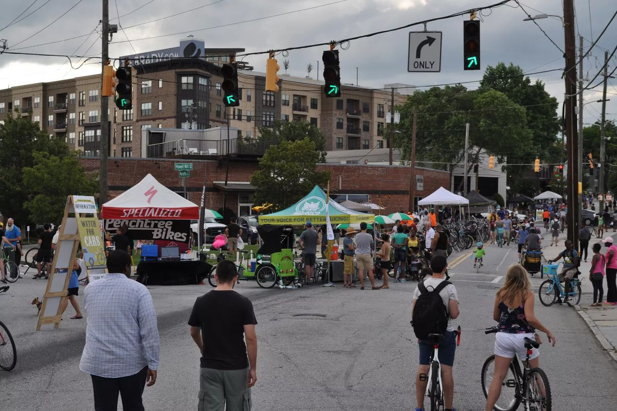 a picture of howell mill road during streets alive