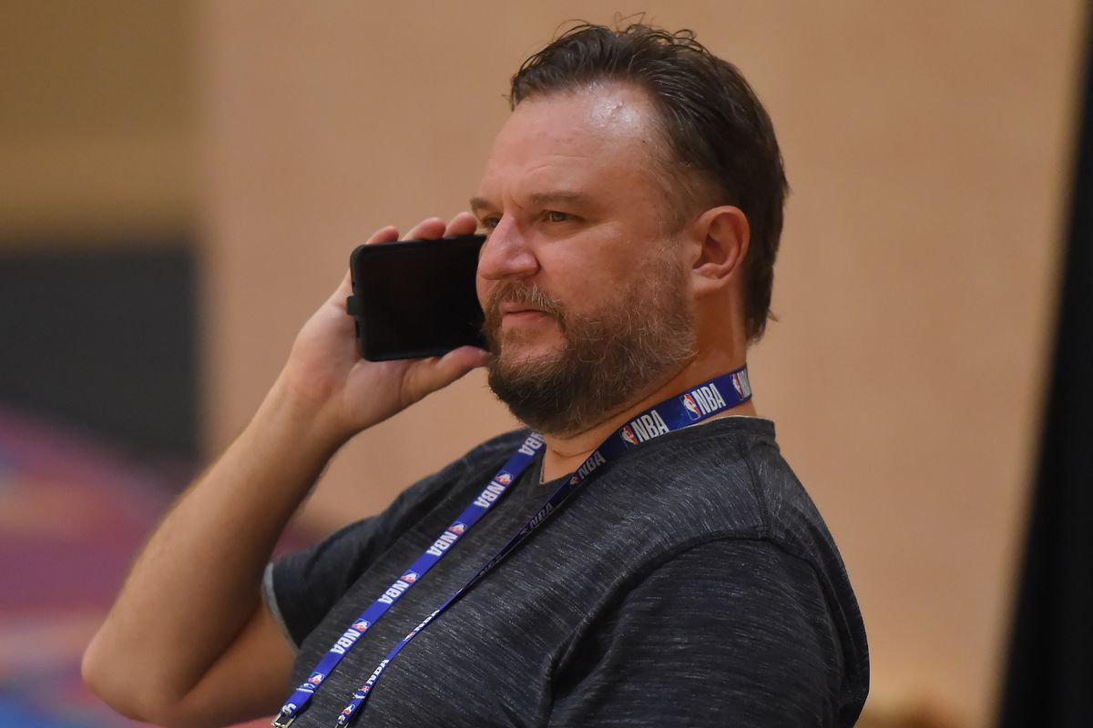 Daryl Morey, GM of the Houston Rockets, talks on the phone during practice as part of the NBA Restart 2020 on July 23, 2020 in Orlando, Florida.