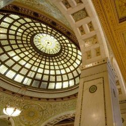 """With two of the world's largest Tiffany glass domes, <a href=""""http://www.cityofchicago.org/city/en/depts/dca/supp_info/chicago_culturalcenterweddinginformation.html"""">The Chicago Cultural Center</a> [78 East Washington Street] hosts wedding ceremonies and"""