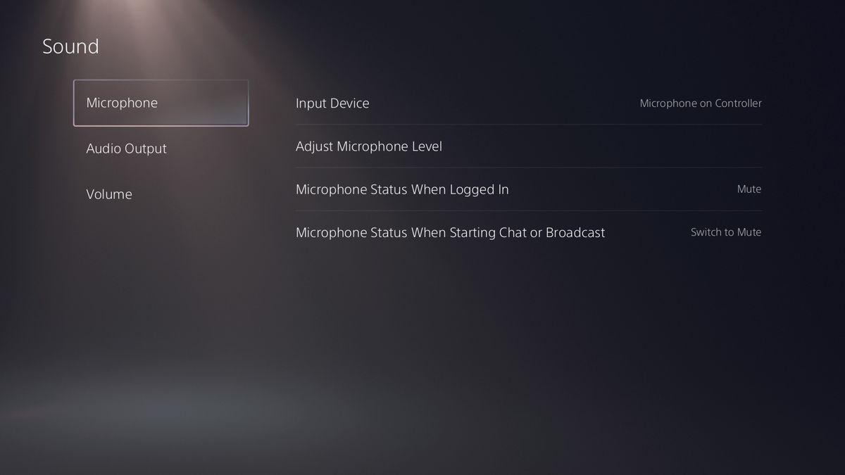 The PlayStation 5's sound menu