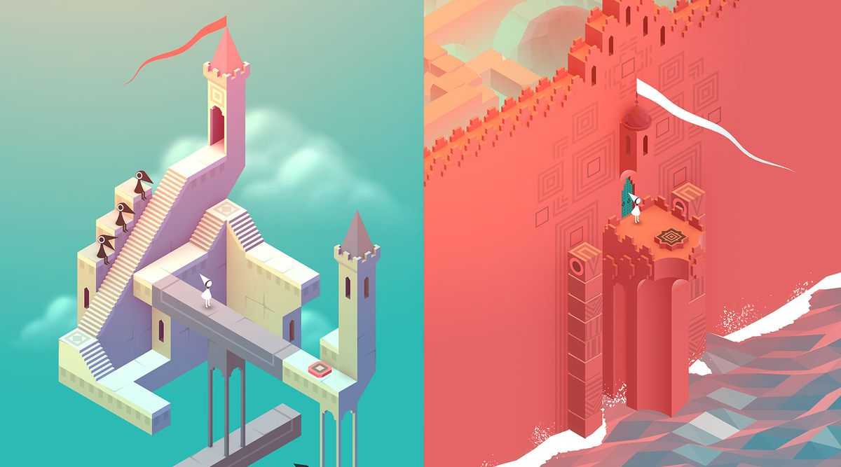 Splitscreen from Monument Valley showing castles from the game.