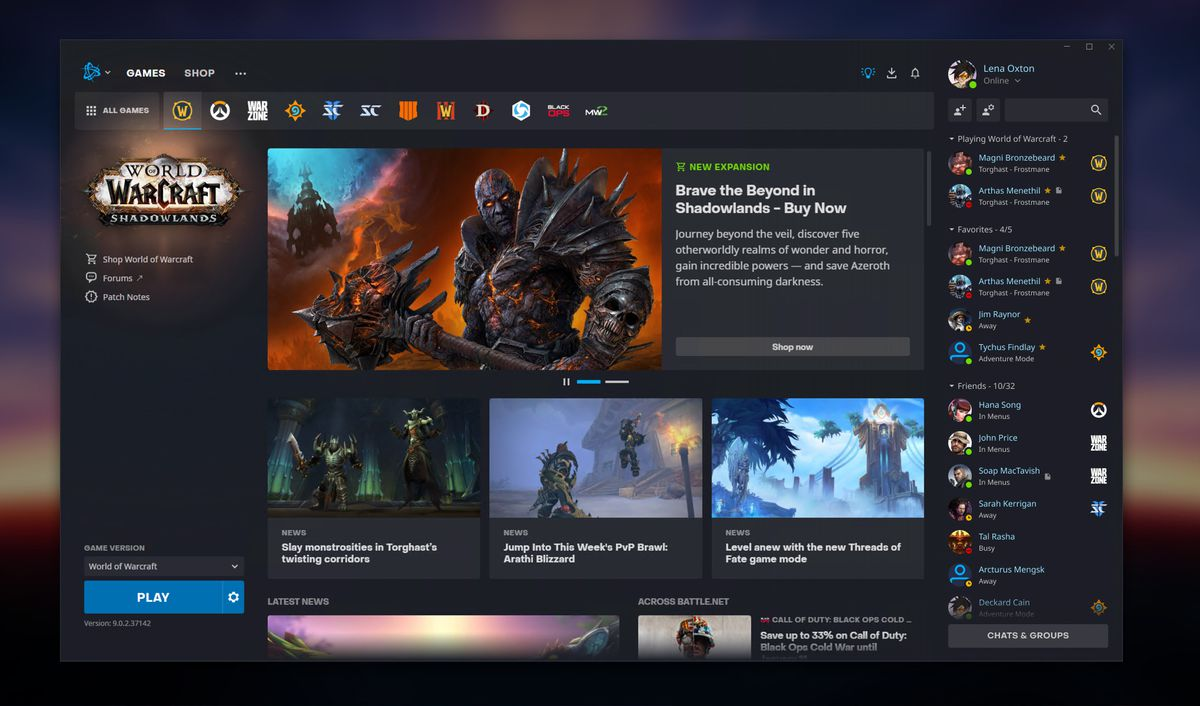 Battle.net - a shot of Activision-Blizzard's game launcher, with the World of Warcraft tab full of Shadowlands news and updates.