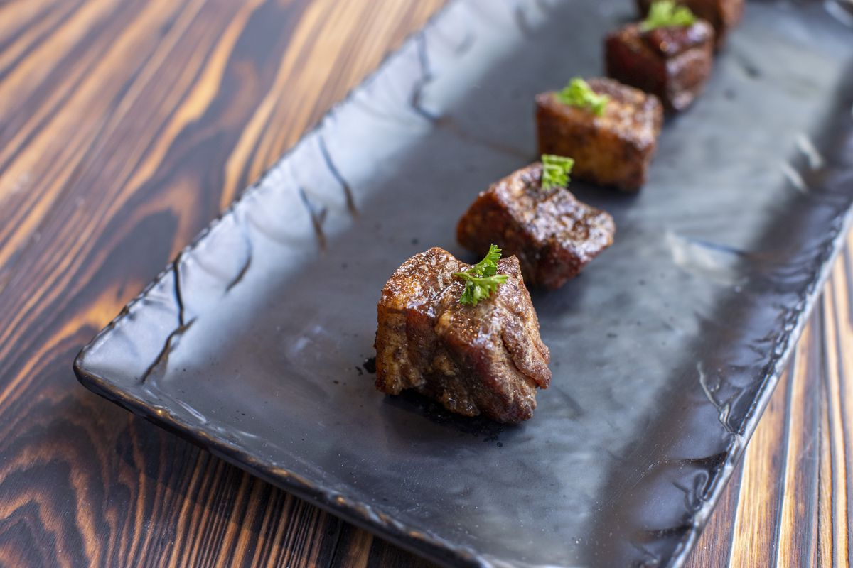Pork belly burnt ends from Smokecraft Modern Barbecue