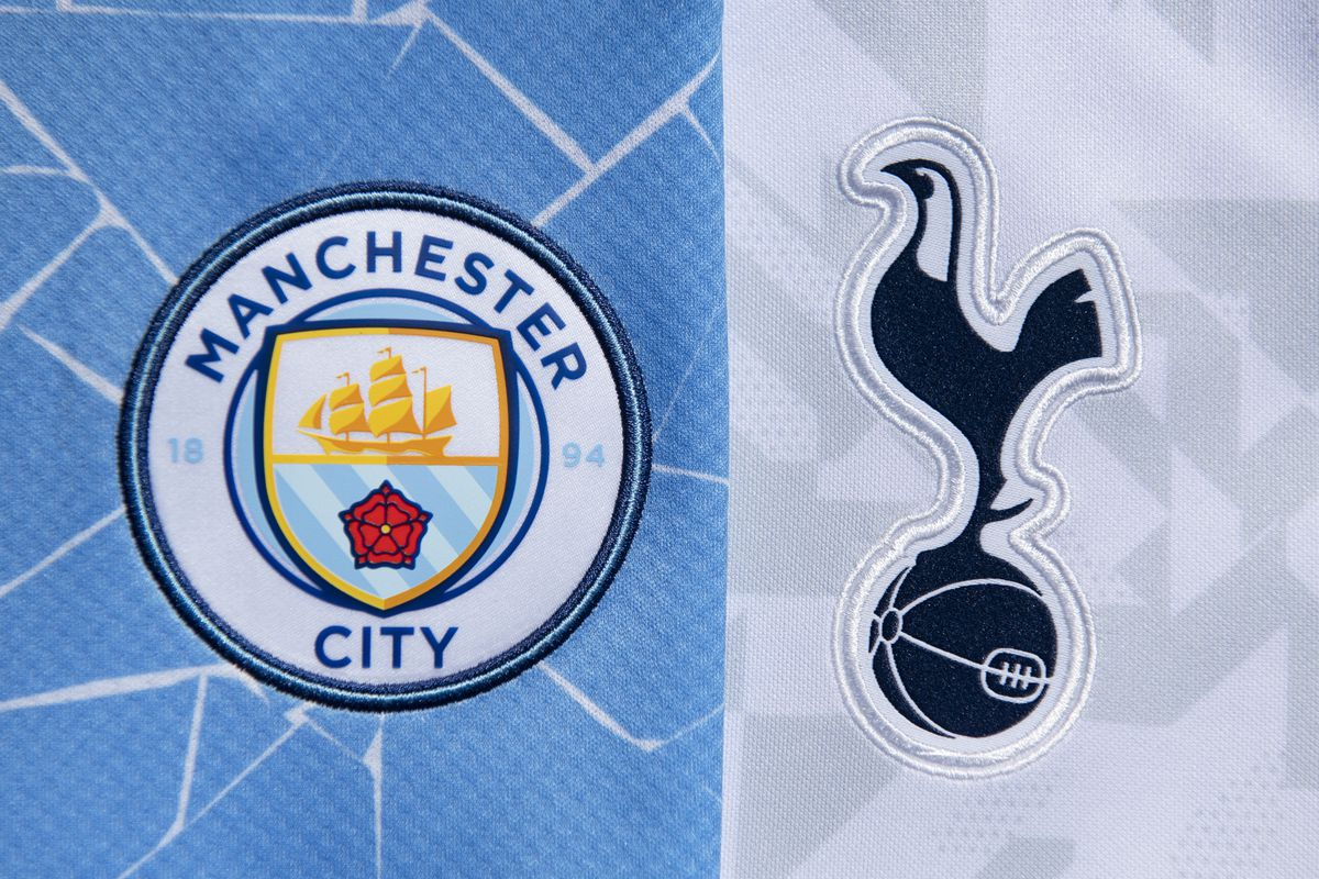 The Club Badges of Manchester City and Tottenham Hotspur