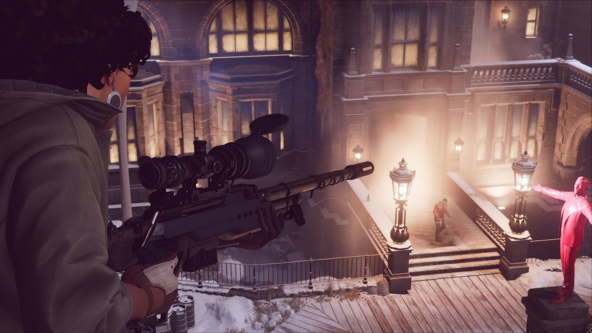 Julianna, armed with a sniper rifle, spies on Colt in Deathloop