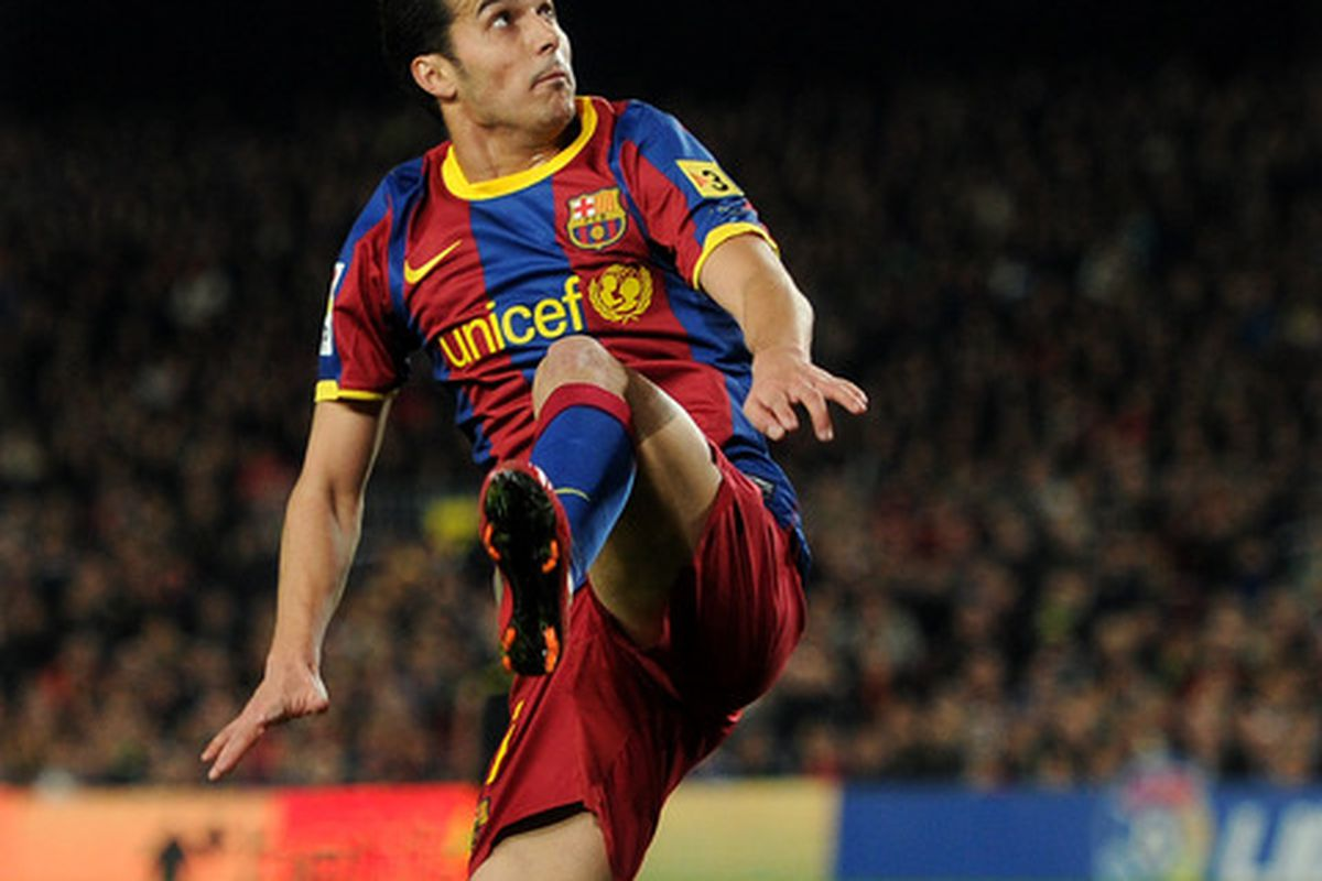 BARCELONA, SPAIN - MARCH 05:  Pedro Rodriguez of Barcelona controls the ball during the la Liga match between Barcelona and Real Zaragoza at the Camp Nou stadium on March 5, 2011 in Barcelona, Spain.  (Photo by Jasper Juinen/Getty Images)