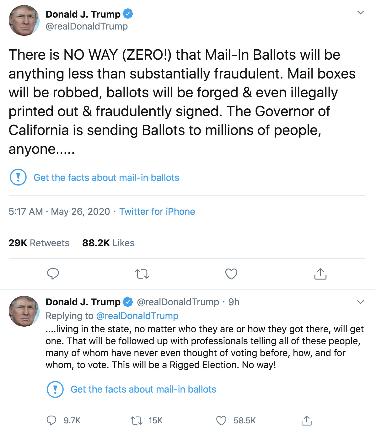 Twitter Fact Checked President Trump S Misleading Tweets About Voting By Mail Vox