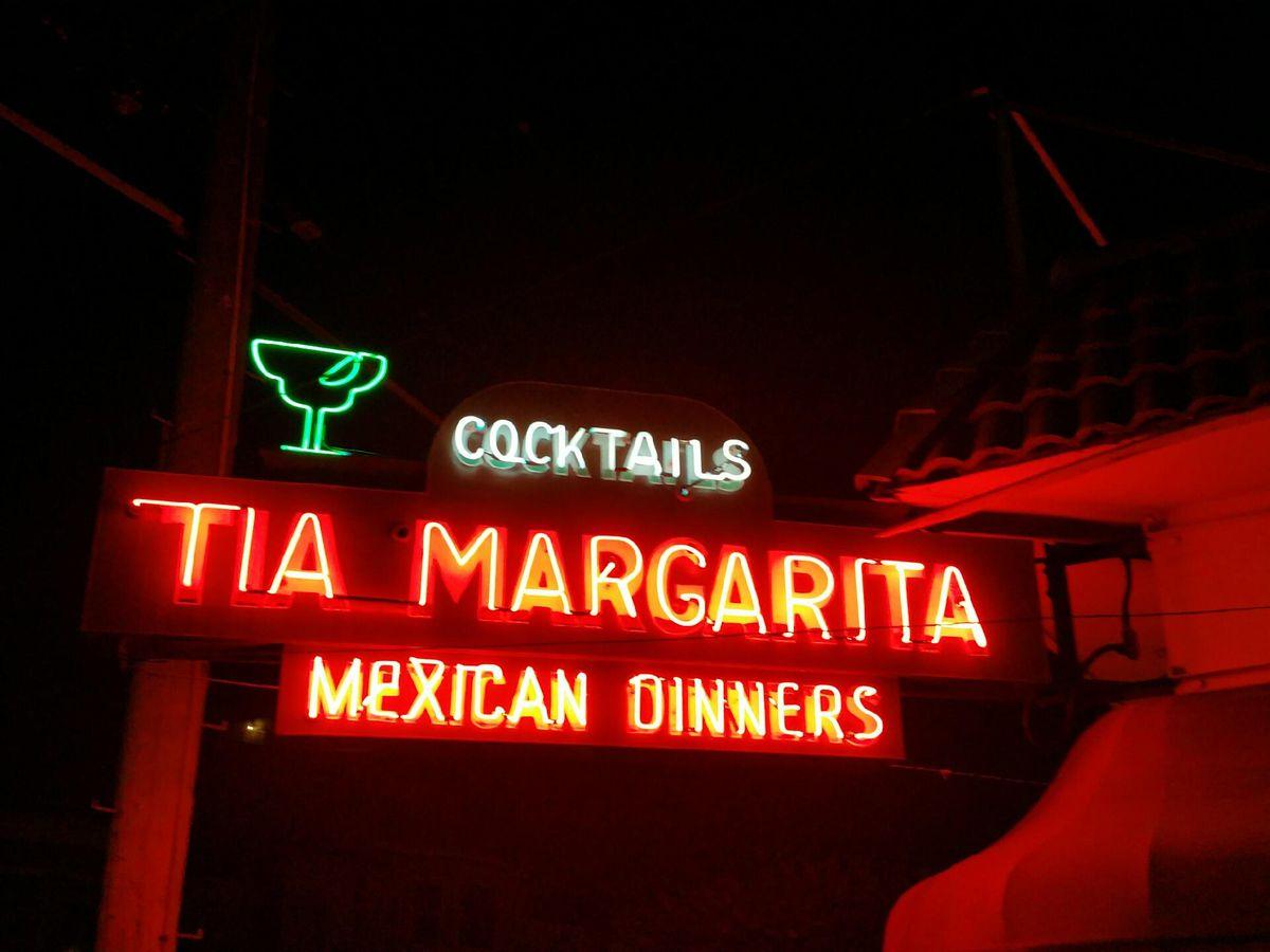 Neon sign on the exterior of Tia Margarita.