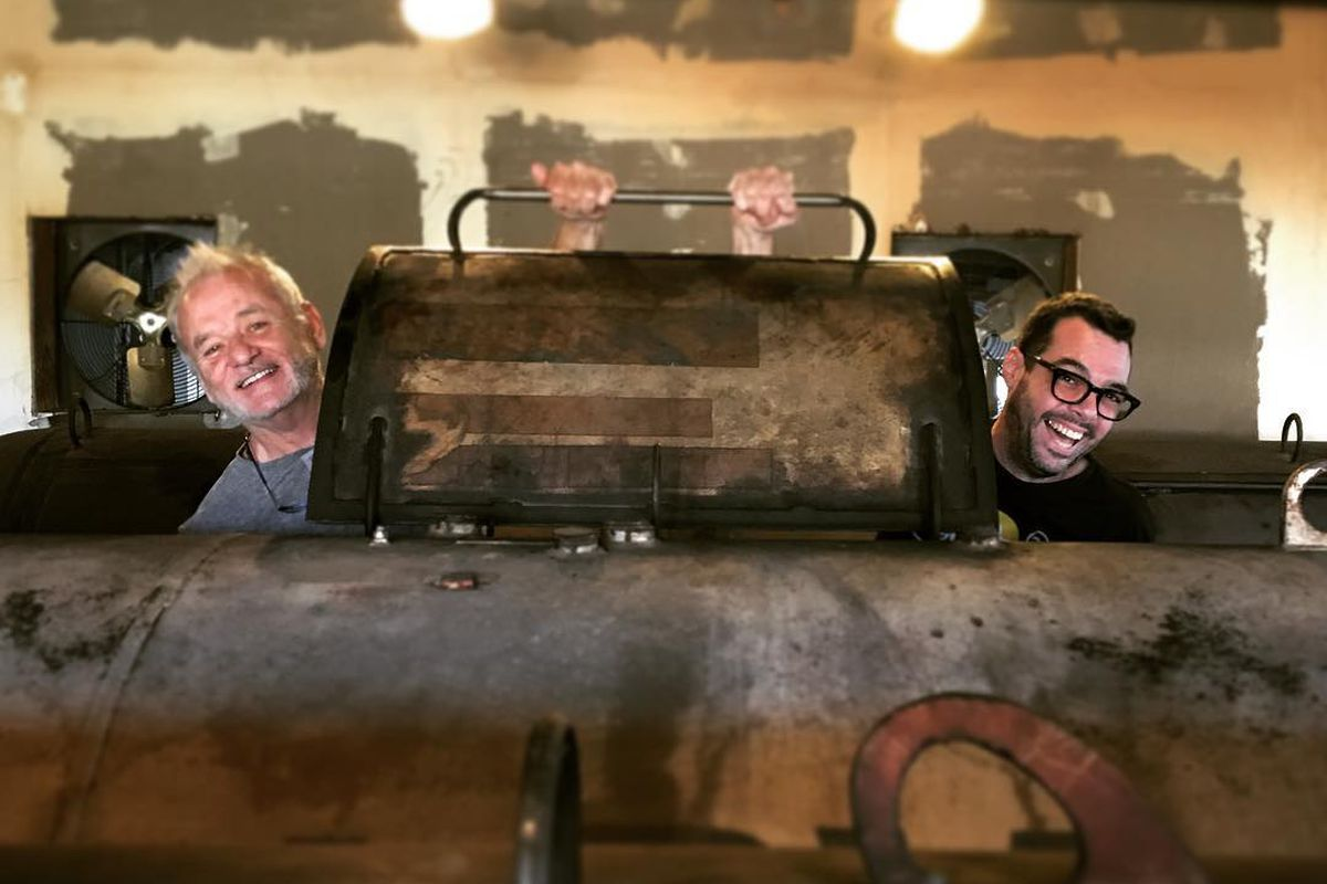 Bill Murray and Aaron Franklin at Franklin Barbecue