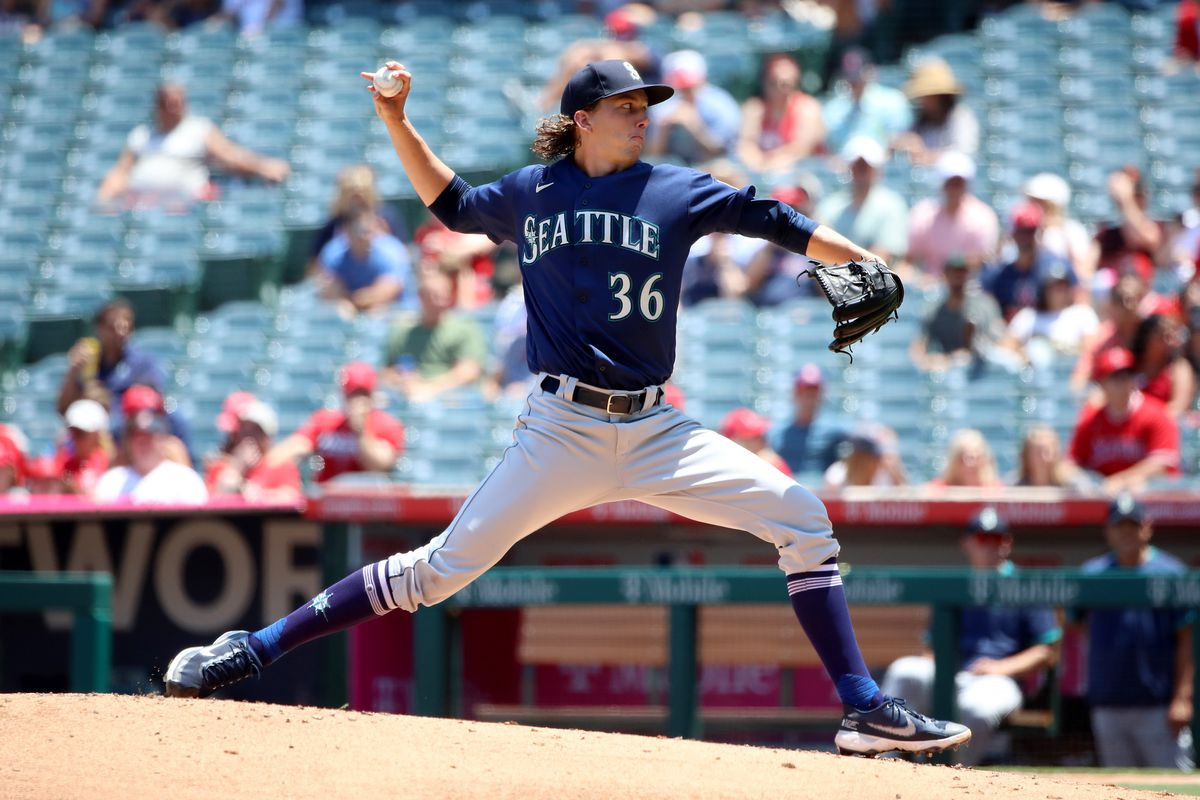 Logan Gilbert #36 of the Seattle Mariners pitches during the first inning against the Los Angeles Angels at Angel Stadium of Anaheim on July 18, 2021 in Anaheim, California.