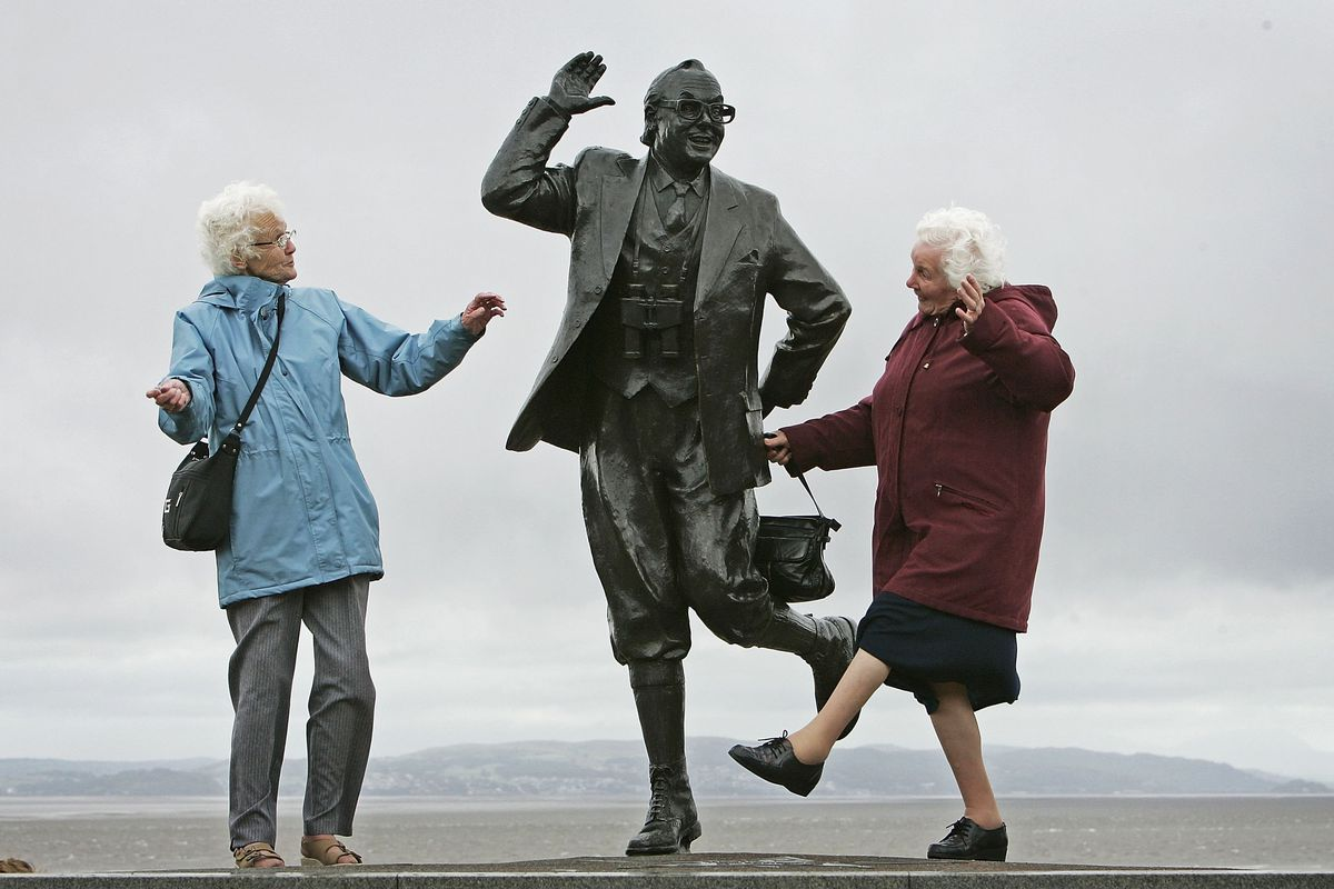 Save up now, and in your golden years, you, too, can be happy enough to dance with a statue.
