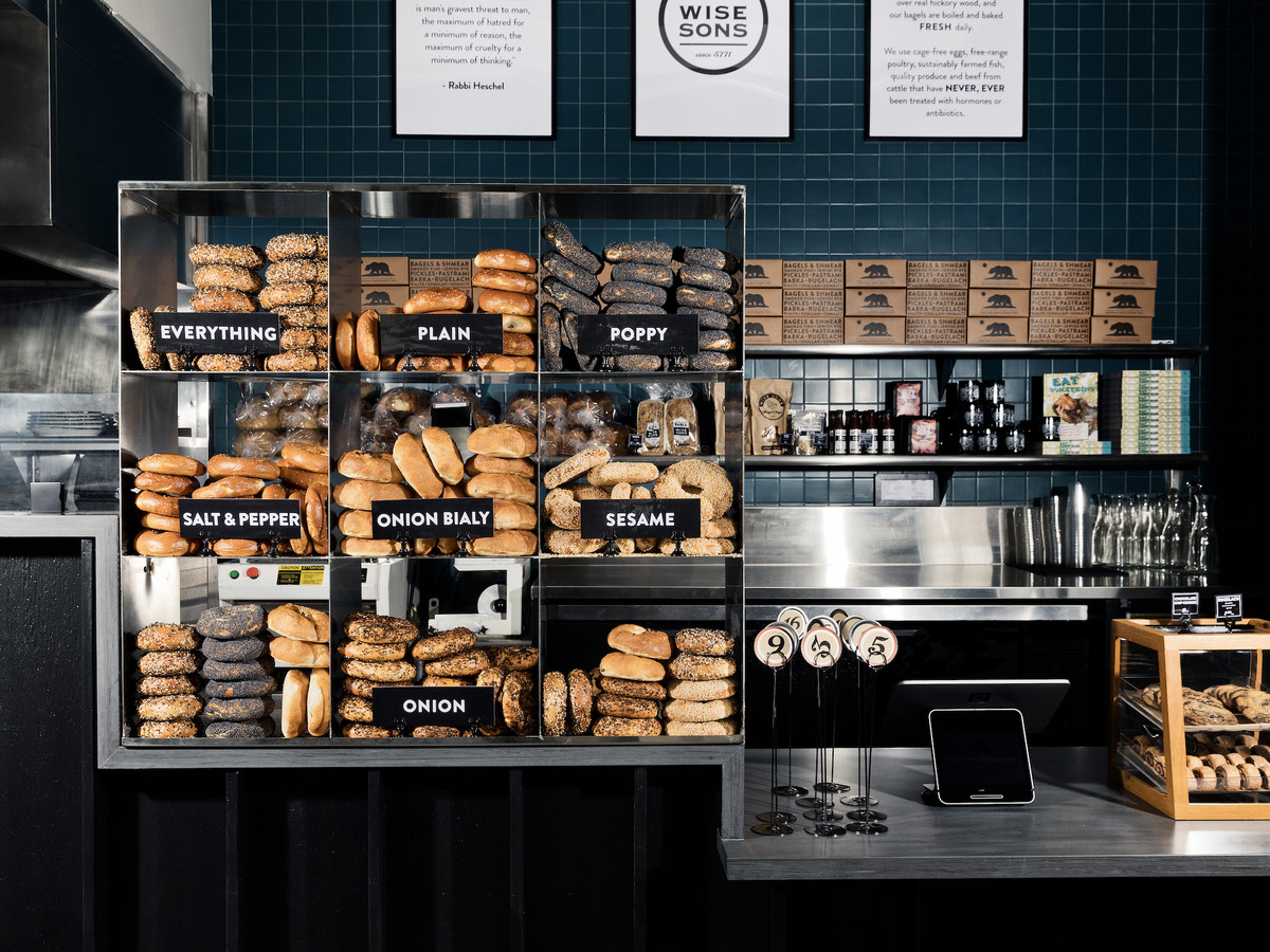 Bagels at the counter of Wise Sons in Culver City.