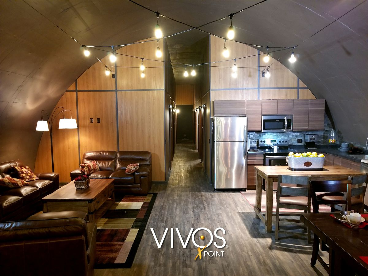 A promotional photo of a kitchen and dining area in one of the bunkers at xPoint.