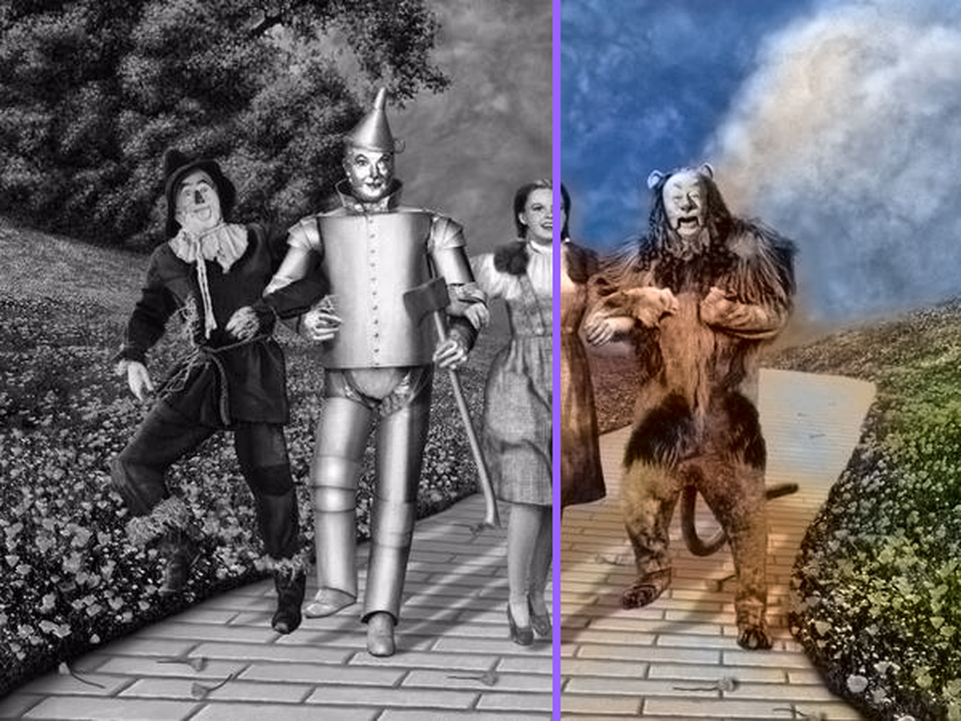 Image result for wizard of oz black and white to color