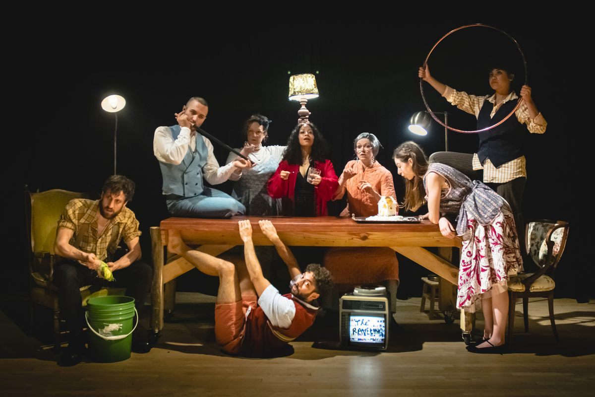 """The cast of Walkabout Theater Company's production of """"The Raveling"""" features Nigel Brown (from left),Cooper Forsman,Katie Mazzini,Anirudh Nair,Amba-Suhasini Jhala,Dana Murphy,McCambridge Dowd-WhippleandAnastacia"""
