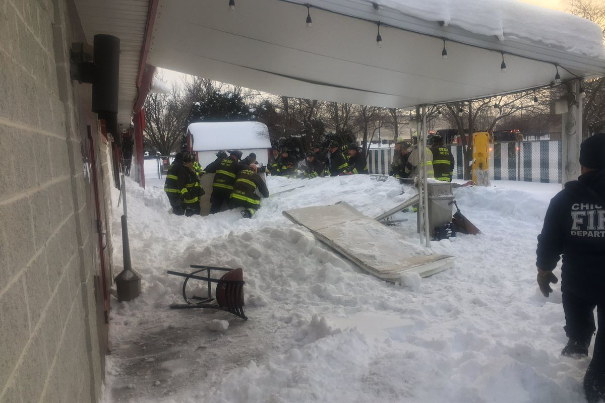 Chicago firefighters respond to the scene of a canopy collapse Feb. 17, 2021, at Club Hawthorne Corliss, 11203 S. Corliss Ave.