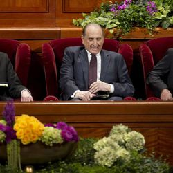 President Thomas S. Monson and his Counselors Henry B. Eyring and Dieter F. Uchtdorf get seated and ready on the stand prior to the start of the morning session of 183 annual General Conference of the Church of Jesus Christ of Latter Day Saints Saturday, April 6, 2013 inside the Conference Center.